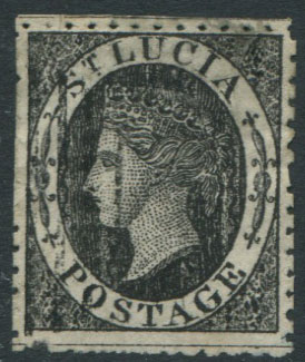 1864-76 St Lucia 1d black, a crude litho forgery