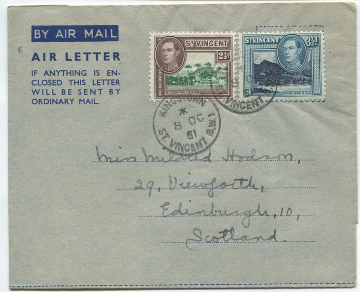 1951 St Vincent postal stationery formular air letter