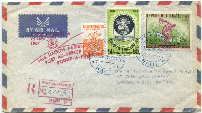 1967 (15 Nov) registered First Flight cover from Port au Prince, Haiti to Pointe A Pitre, Guadeloupe.