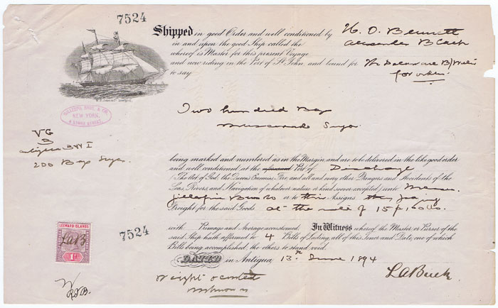 1894 Antigua Bill of Lading for 200 bags of muscovado sugar