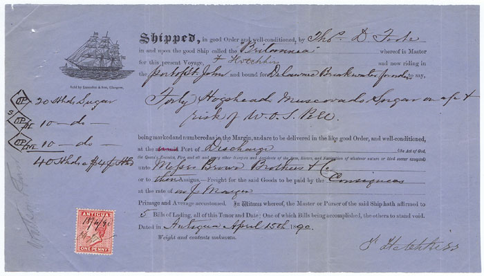 1890 Antigua Bill of Lading for 40 hogsheads of muscovado sugar