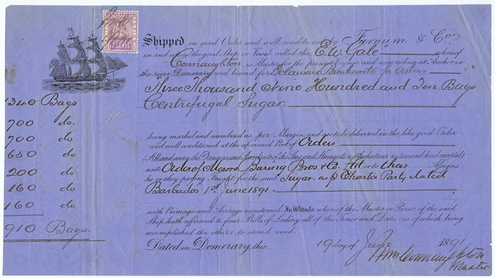 1891 Demerara Bill of Lading for 3910 centrifugal sugar