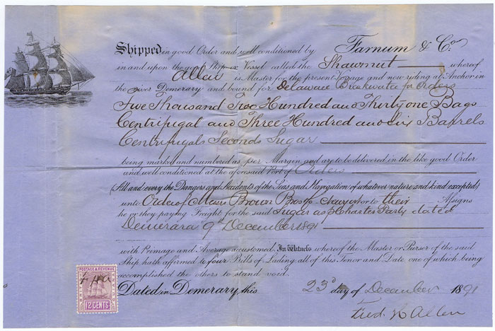 1891 Demerara Bill of Lading for 5231 bags of centrifugal sugar and 6 barrels centrifugal seconds sugar.