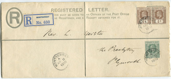 1902 Leeward Is. 2d registered envelope with flap on back