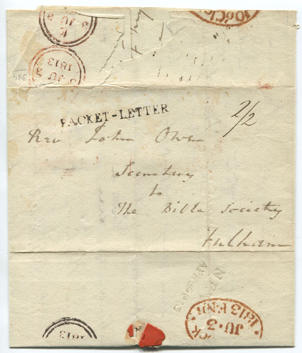 1813 (29 Apr) NEVIS APR 29 813 two line date stamp (PF 1) on cover to London.
