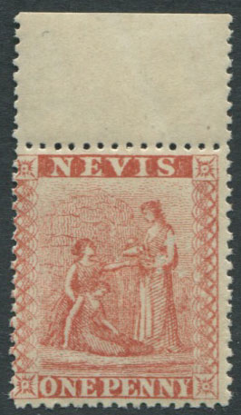 1876-8 Nevis 1d pale rose red (SG15),