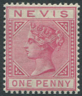 1882-90 Nevis 1d dull rose (SG27) with damaged