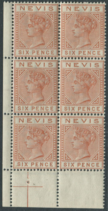 1882-90 Nevis 6d chestnut (SG33), corner block of 6,