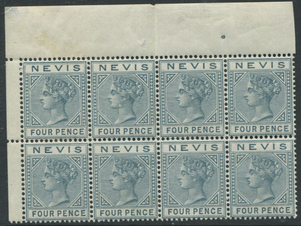 1882-90 Nevis 4d grey (SG31), marginal block of 8,
