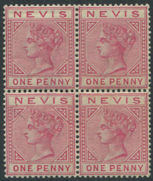 1882-90 Nevis 1d dull rose (SG27), block of 4,