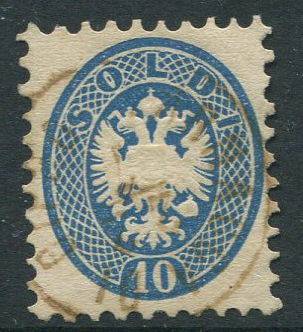 1864 LARNACCA DI CIPRO cds on 1864 Lombardy Venetia 10s blue.