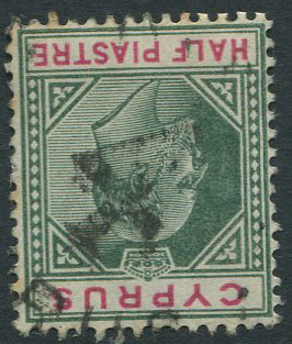 1902-4 Cyprus ½pi with good strike of R.P.O. 4