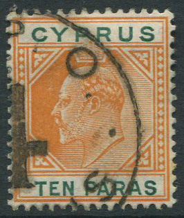 1904-10 Cyprus 10p with part strike of R.P.O. 4