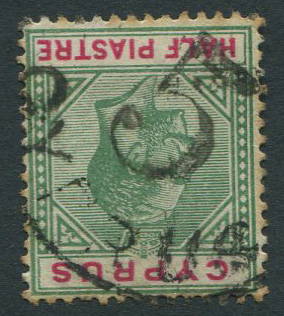 1912-5 Cyprus ½pi with good strike of R.P.O. 5