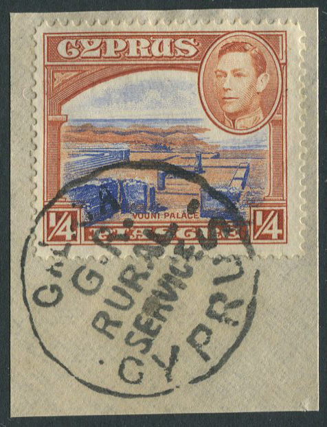 1938-51 Cyprus �pi with good G.R. GALATA rural service postmark.