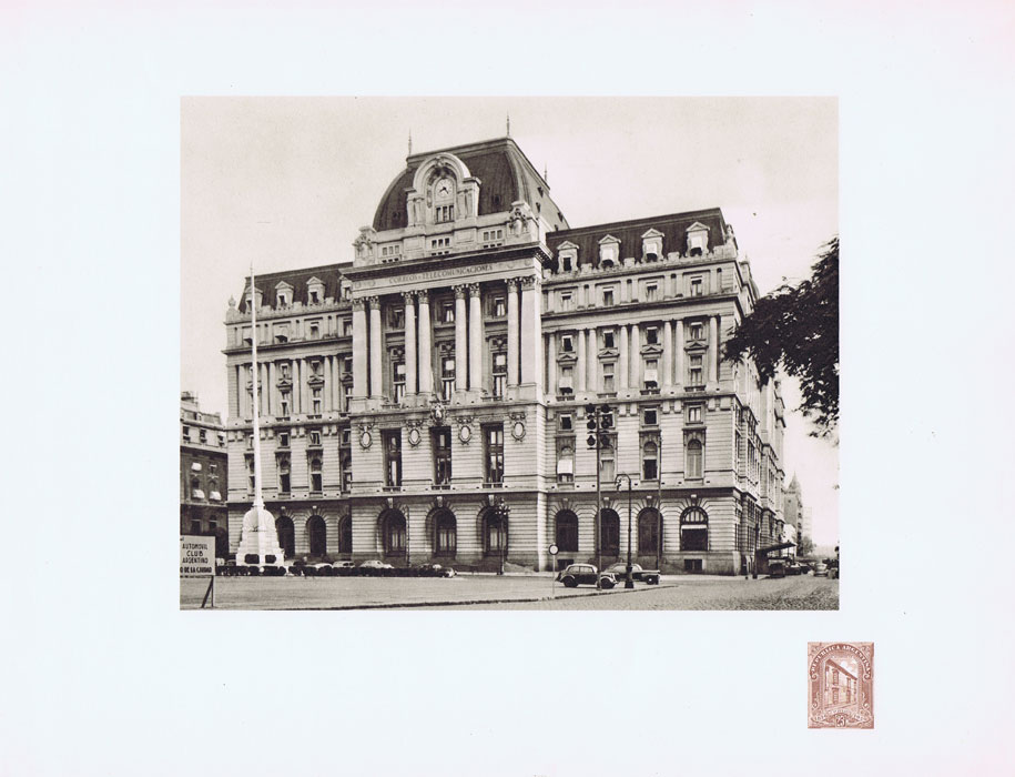1951 Argentina Helio-Vaugirard Proof of the 1926 25c General Post Office on corner of photo print of the building.