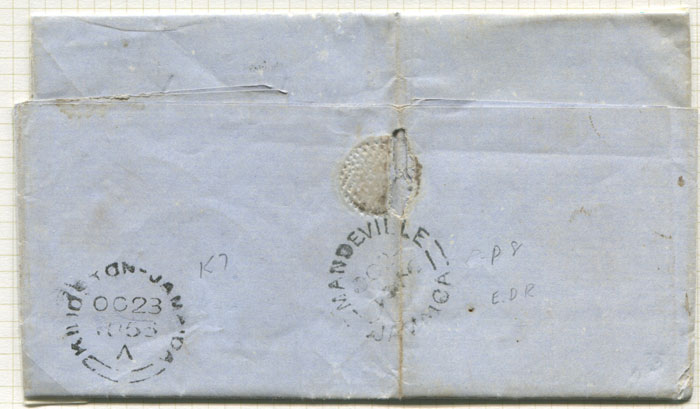 1836 (23 Oct) MANDEVILLE JAMAICA cds (P8) arrival mark on EL from Kingston.
