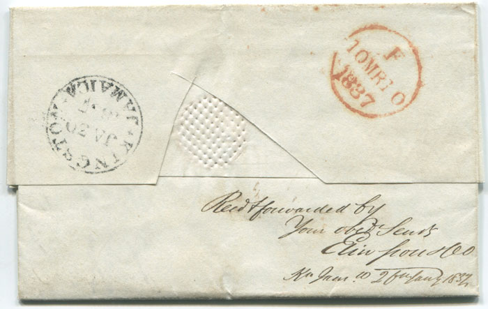 1837 (23 Jan) EL from Santiago de Cuba to London with KINGSTON JAMAICA date stamp (K4)