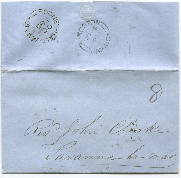 1856 (8 Oct) RODNEY HALL JAMAICA (P6) date stamp on EL to Savanna la Mar.