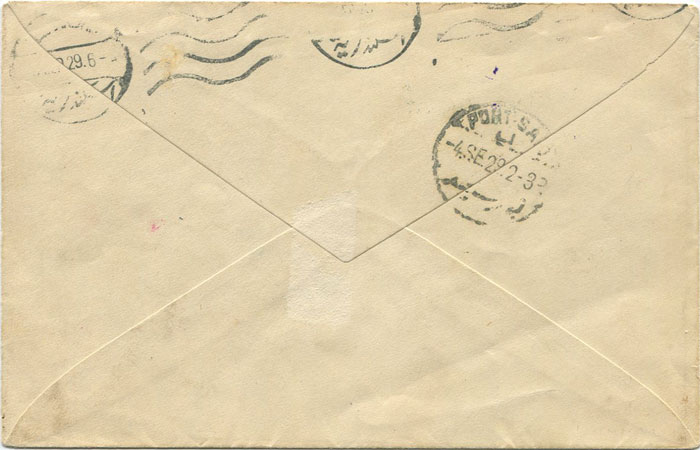 1929 Caymans cover to Egypt with War Stamp tied by SEA P.O. CYPRUS cds.