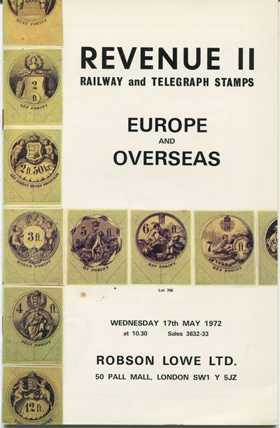 1972 (17 May) Revenue II. - Railway and Telegraph stamps. Europe and Overseas