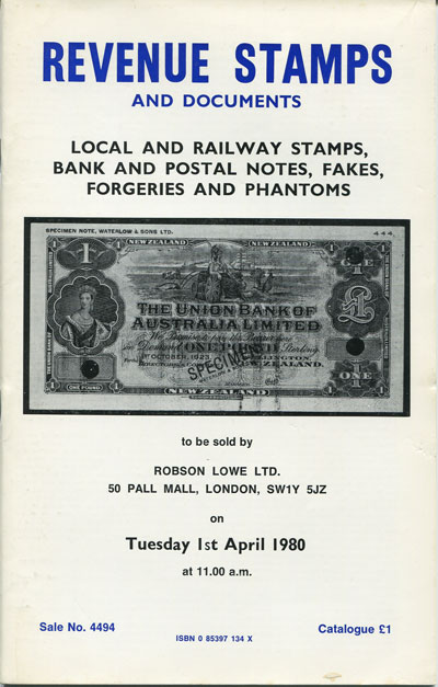 1980 (1 Apr) Revenue stamps, local and railway stamps. Banknotes and cheques, forgeries and phantoms.