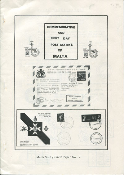 MALTA Commemorative and First Day Postmarks of Malta.