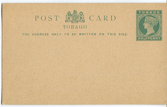 1892 Tobago postal stationery postal card �d green