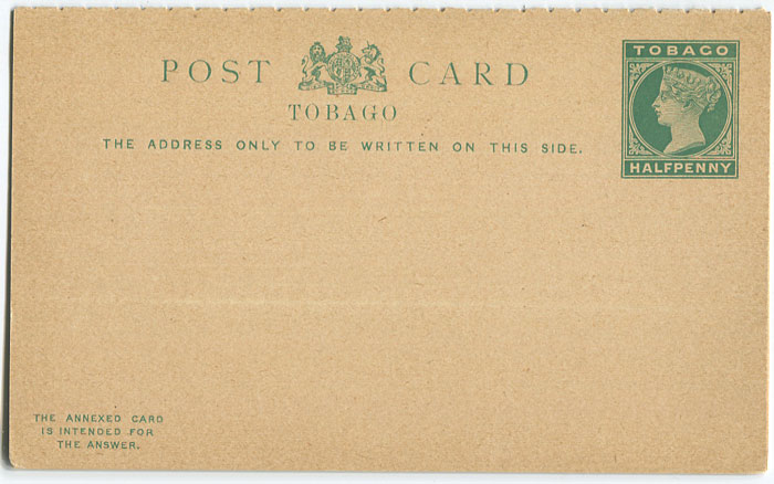1892 Tobago postal stationery postal reply card �d