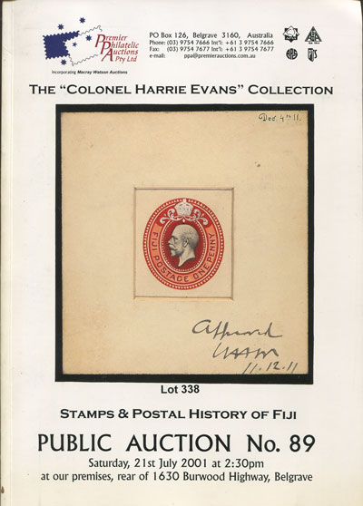 2001 (21 July) Colonel Harry Evans collection of stamps and postal history of Fiji.
