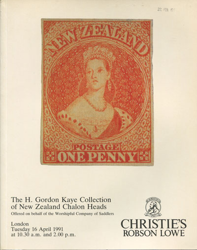 1991 (16 Apr) H. Gordon Kaye collection of New Zealand Chalon Heads.