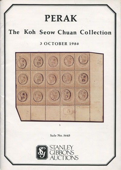 1986 (3 Oct) Perak.  The Koh Seow Chuan Collection.