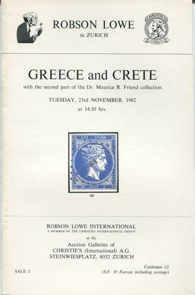 1982 (23 Nov) Greece and Crete - with the second part of the Dr Maurice R. Friend collection.