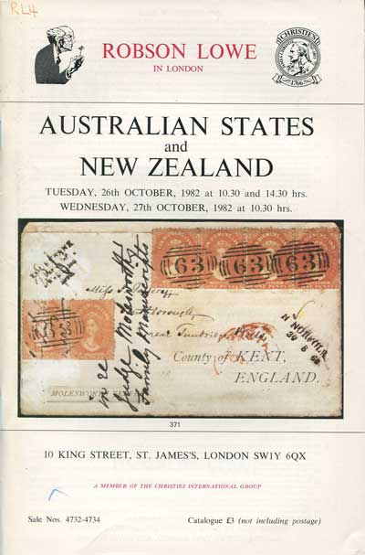 1982 (26-7 Oct) Australian States and New Zealand. - Including fine postal history formed by Tony Rigo de Righi, Dr W.R.D. Wiggins N.S.W. and the late J.R.W. Purves Victoria.