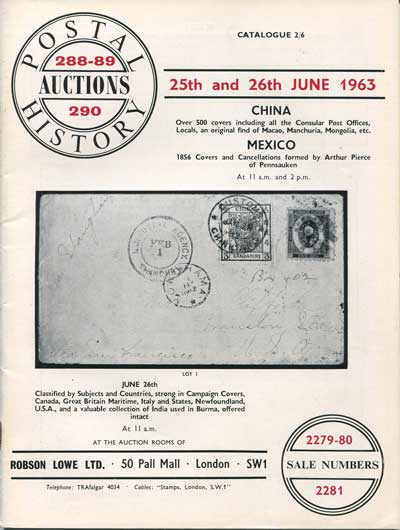 1963 (25-6 June) Postal History Auctions Sales 288/289. - Includes fine China and Mexico.