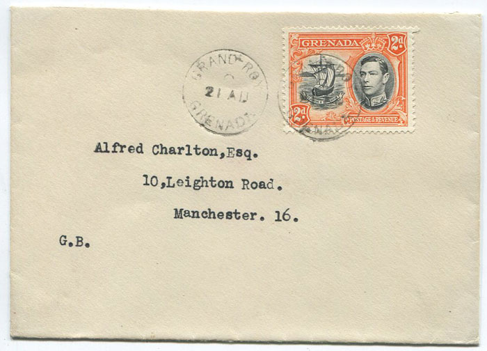 1940 (circa) GRAND-ROY cds cancelling Grenada 2d on cover to England.
