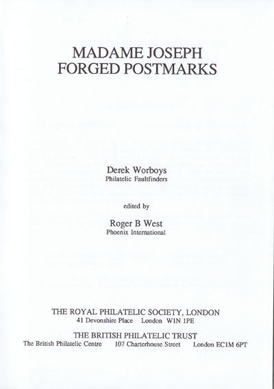 WORBOYS Derek and WEST Roger Madame Joseph Forged Postmarks.