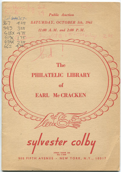 1963 (5 Oct) The Philatelic Library of Earl McCracken.