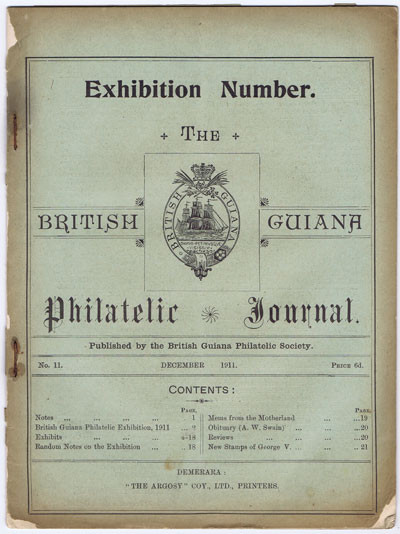BRITISH GUIANA Philatelic Journal. - Exhibition Number, no 11.