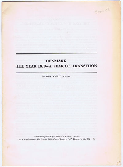 AGERUP John Denmark. The Year 1870 - A year of Transition.