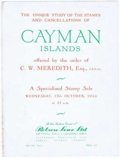 1955 (12 Oct) C.W. Meredith Cayman Islands.