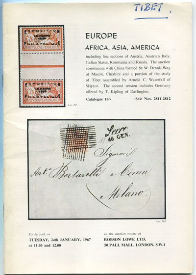 1967 (24 Jan) Europe, Africa, Asia and America including part of the Waterfall collection of Tibet.