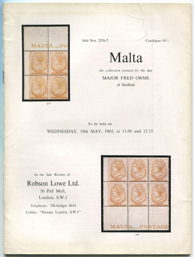 1965 (19 May) Majaor Fred Orme collection of Malta.
