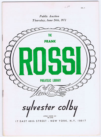 1971 (24 Jun) Frank Rossi philatelic library.