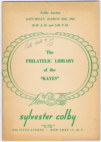 1962 (24 Mar) Kayes philatelic library.