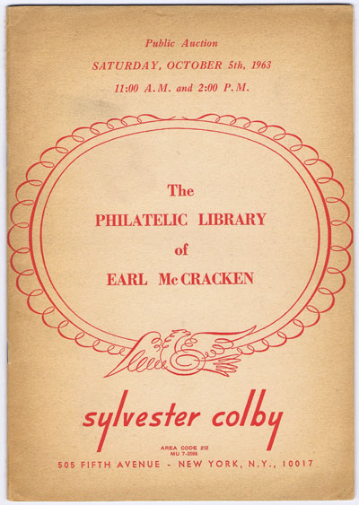 1963 (5 Oct) Earl McCracken philatelic library.