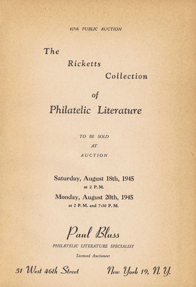 1945 (18, 20 Aug) Ricketts collection of philatelic literature.
