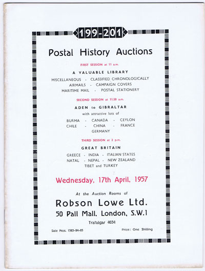 1957 (17 Apr) Postal History Auctions including a valuable library.