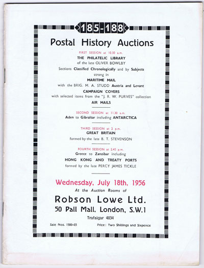 1956 (18 July) Postal History Auctions including Oliver Bowlby philatelic library and Studd maritime mail of Austria and Levant.