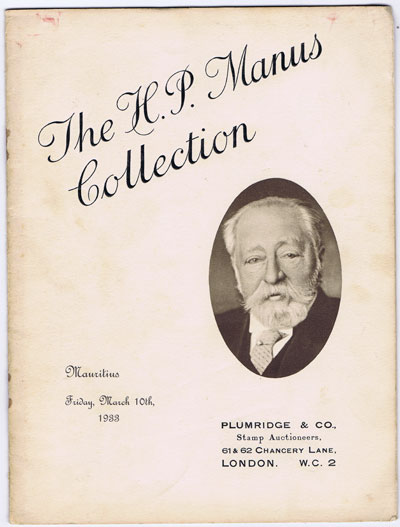 1933 (10 Mar) H.P. Manus collection of Mauritius.